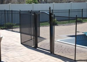 pool fence with self-closing, self-latching safety gate installations Vermont