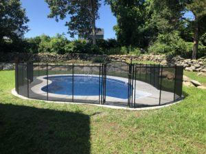 4' tall all-black pool fence swansea installation